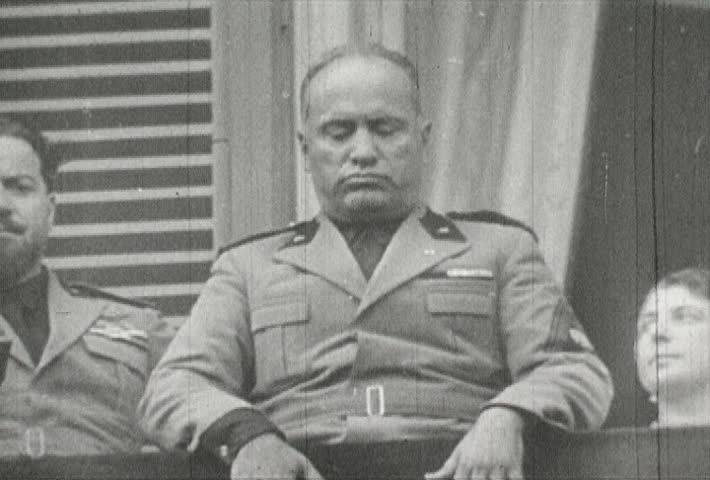 ITALY - CIRCA 1942-1944: World War II, Mussolini Speaks from Balcony to Masses