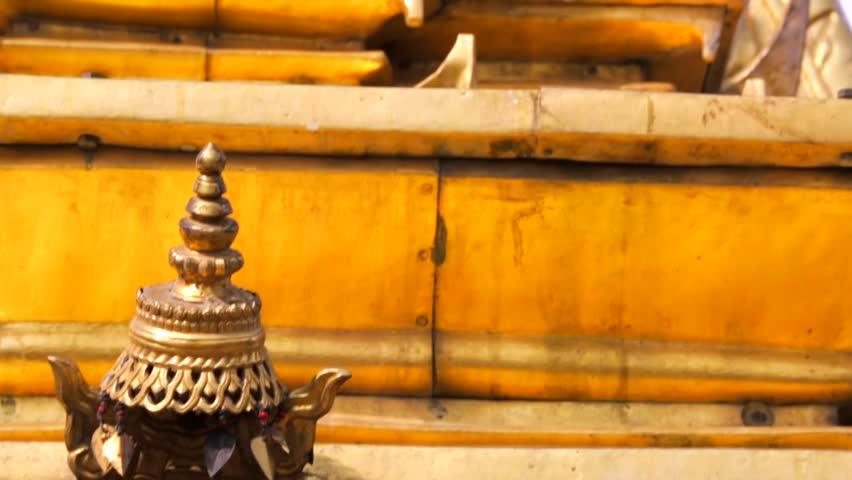 Set of Shiva, Buddha, Garuda statues, reliefs and bas-reliefs closeup on Swayambhunath stupa.
