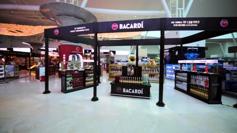 KUALA LUMPUR, MALAYSIA - APRIL 7, 2016: Bacardi store in duty free zone in KL International airport. It's the largest privately held company. Originally known for its eponymous Bacardi white rum