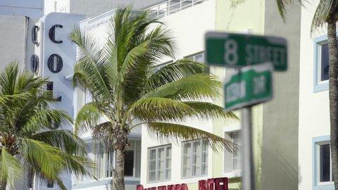 South Beach 8th and Ocean Drive sign in Miami Beach FL