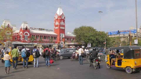 Chennai,India - March 07,2016: People crossing street at central railway station