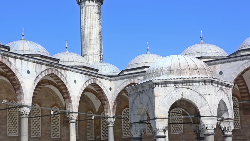 Detail of Blue mosque in Istanbul, Sultanahmet park. The biggest mosque in Istanbul of Sultan Ahmed (Ottoman Empire).