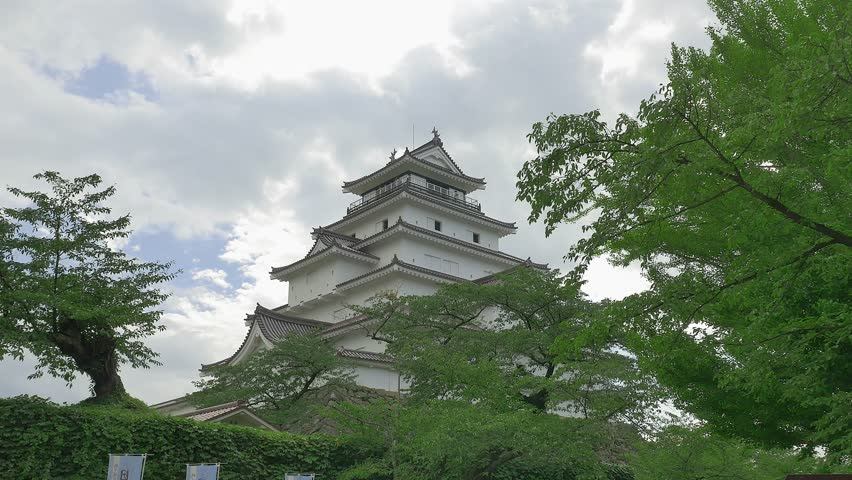 aizu wakamatsu castle in fukushima japan 4k stock video clip - Traditional Castle 2016