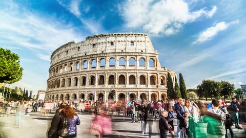 Timelapse of people crowd near famous Colosseum amphitheater in Rome, Italy. April, 2016. Time lapse.