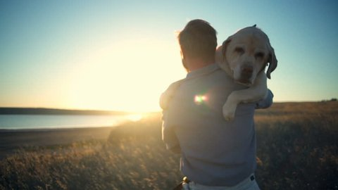 back view of man carrying old dog in sun light slow motion