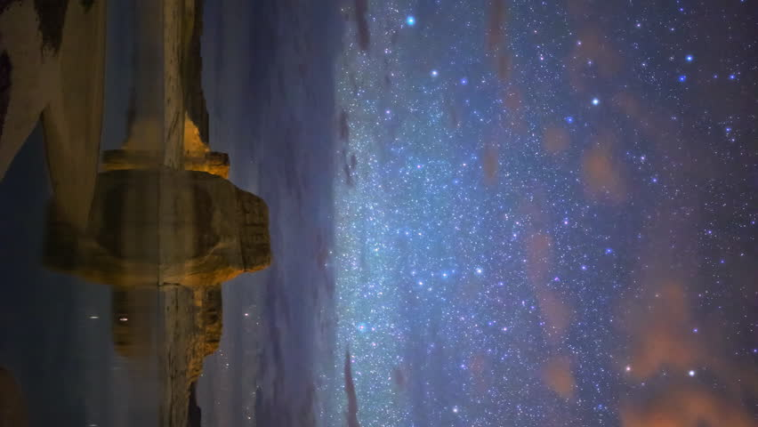 Astrophotography Time lapse of Milky Way over Lone Rock in Lake Powell, Utah -Vertical Shot-