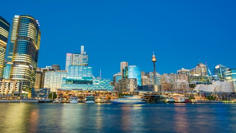4k hyperlapse video of Darling Harbour of Sydney from day to night