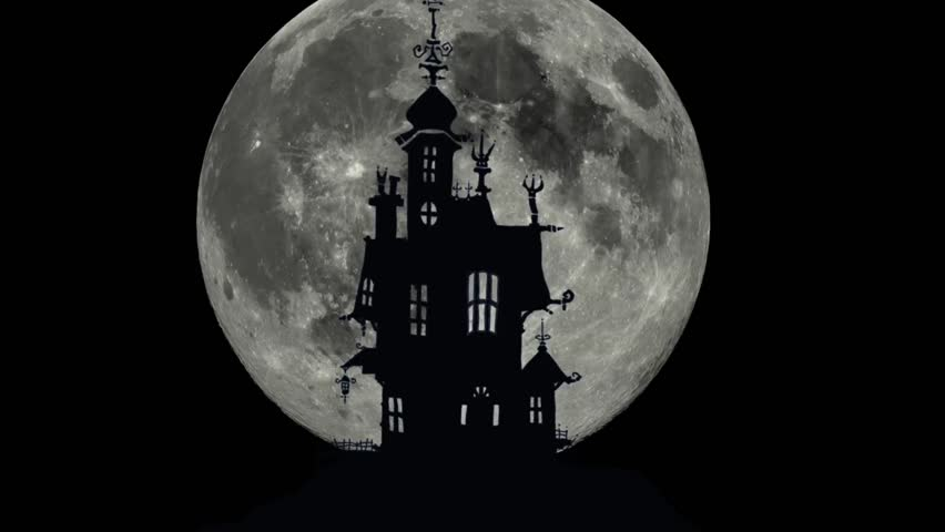 Halloween night background with haunted house and full moon  | Shutterstock HD Video #20323987