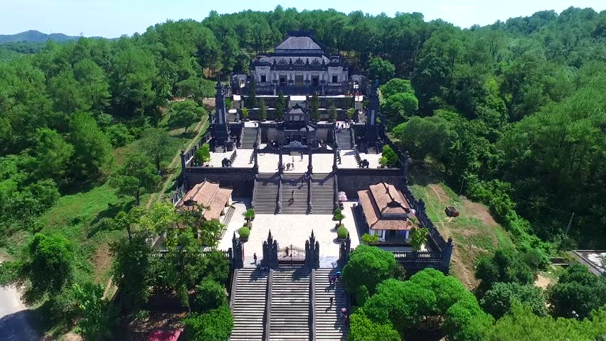 HUE, VIETNAM, AUGUST 20, 2016: Tomb of Khai Dinh emperor in Hue, Vietnam from drone. A UNESCO World Heritage Site