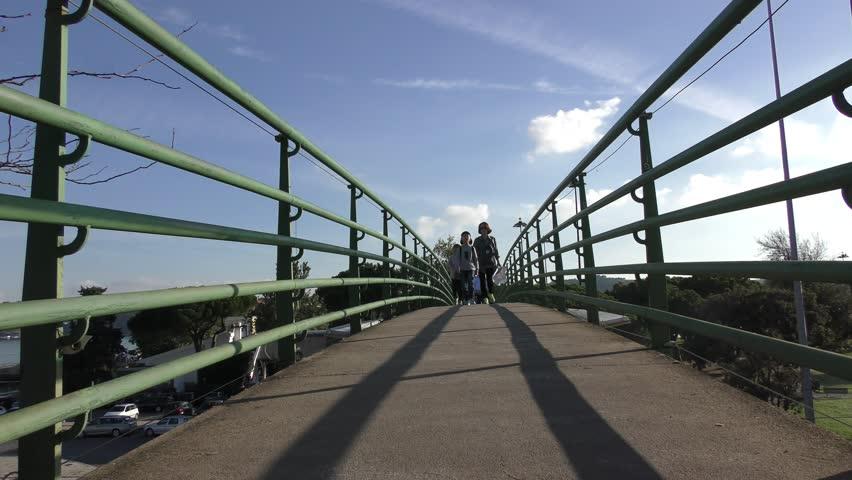 LISBON, PORTUGAL, NOV 06, 2016: People walking on bridge in Belem. #20348701