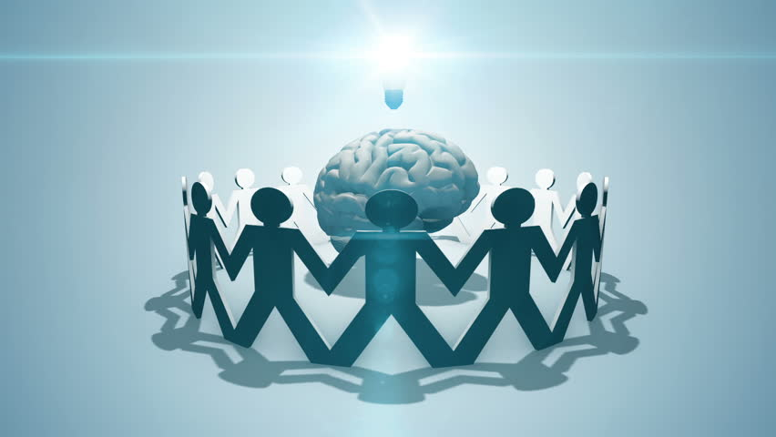 Think tank - crowdsourcing concept of paper chain people surround brain and light bulb | Shutterstock HD Video #20368405