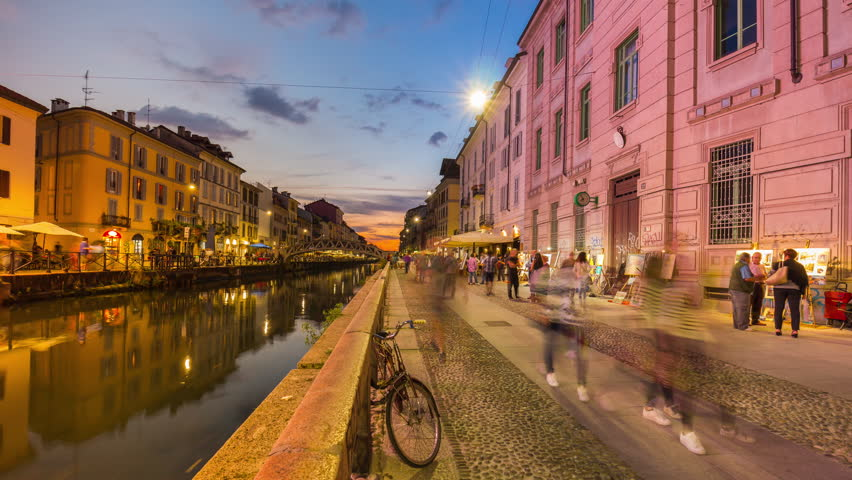 sunset milan ripa di porta ticinese grande canal walking people panorama 4k time lapse italy