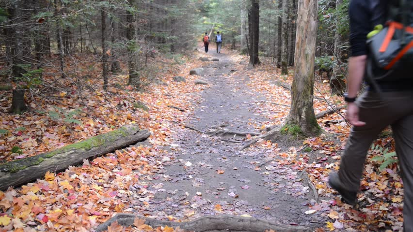 KEENE, NEW YORK CIRCA OCTOBER 2016. Despite its distance from any major cities, autumn often brings throngs of hikers and climbers to the Adirondacks to see the foliage and get some fresh air.