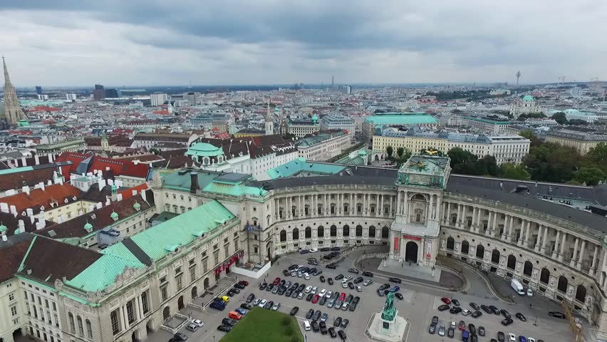 VIENNA, AUSTRIA - OCTOBER 10, 2016: Vienna Downtown With The Most Popular Sightseeing object in Vienna, Austria. Heldenplatz, Hofburg Imperial Palace, Library, Albertina.