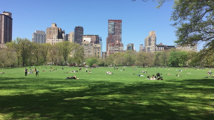 Spring in Manhattan. People in New York City lay out, relax and enjoy the sun and sunbathe and exercise in Central Park Meadow.