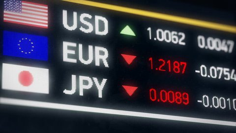 Japanese Yen, US dollar, Euro comparison, currencies falling, financial crisis. World currencies plummet down, financial crisis, stock market crash