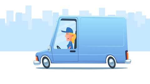 Woman driving service van against the background of city. Looped 2D animation. Main composition. Enlarged truck on transparent background. Moving city background. PNG + Alpha. Just place your logo.