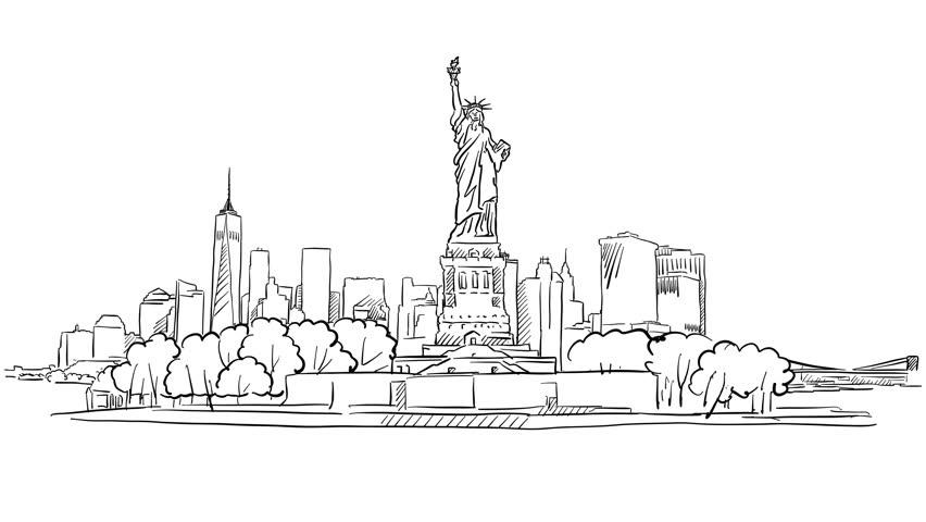 New York City Skyline Simple Drawing   Kids   Pinterest   Simple ...