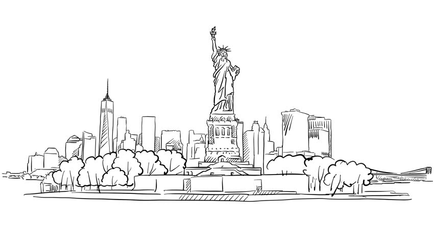 New York City Skyline Simple Drawing | Kids | Pinterest | Simple ...