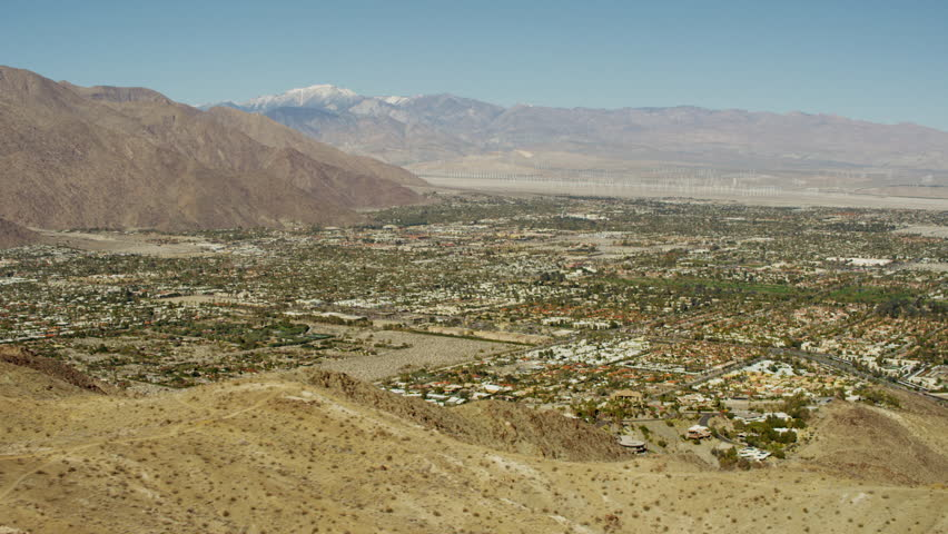 Aerial USA America California Coachella Valley Palm Springs city Desert Oasis Residential outdoor tropical Wind Farm Turbines Hills