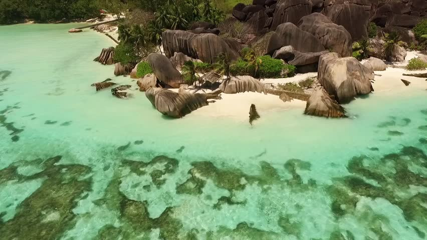 Aerial view of Seychelles tropical beach on La Digue island.