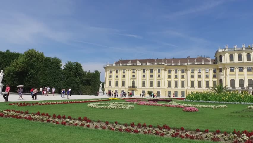 VIENNA, AUSTRIA - AUGUST 06, 2016: Schonbrunn Palace (Schloss Schonbrunn) is a former baroque imperial summer residence located in Vienna. Using of DJI Osmo for smooth motion.