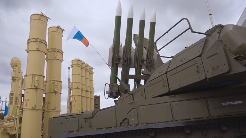 "Russian anti-aircraft missile system of medium-range air defense. ""Buk-M3"" - a set of air defense of ground forces of medium-range and background self-propelled rocket launcher S-300VM ""Antey-2500"""