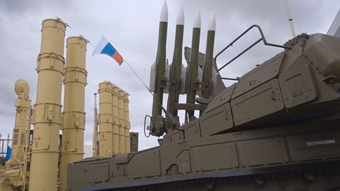 """Russian anti-aircraft missile system of medium-range air defense. """"Buk-M3"""" - a set of air defense of ground forces of medium-range and background self-propelled rocket launcher S-300VM """"Antey-2500"""""""