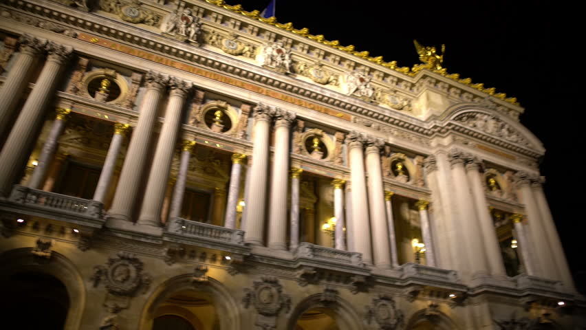High white columns of illuminated Opera building in Paris, ancient architecture | Shutterstock HD Video #20704774