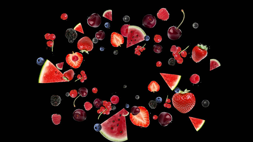 Berry blast, explode berries, many berries, berries on a white background , a lot of berries , fruit fly, Alpha Channel