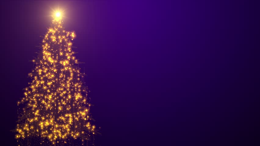 Gold Christmas Tree Background Loopable Stock Footage