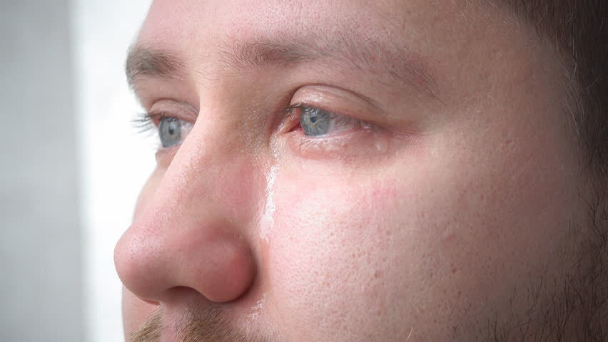 Tears in the eyes of an adult man crying closeup | Shutterstock HD Video #20772361