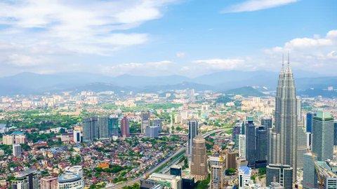 KUALA LUMPUR, MALAYSIA - FEBRUARY  02, 2016: Time-lapse view of the skyline on February 16, 2016 in Kuala Lumpur, Malaysia.