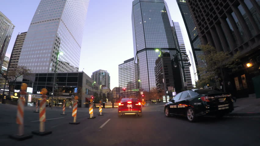 Denver, Colorado, USA-October 22, 2016. POV point of view - Driving through downtown Denver early in the morning.