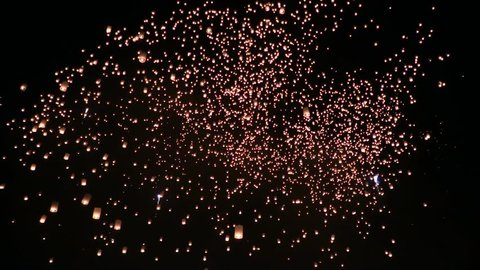 Amazing Yee Peng and Loy Krathong Festival of Floating Lights and Sky lanterns at Mae Jo, Chiang Mai, Thailand.