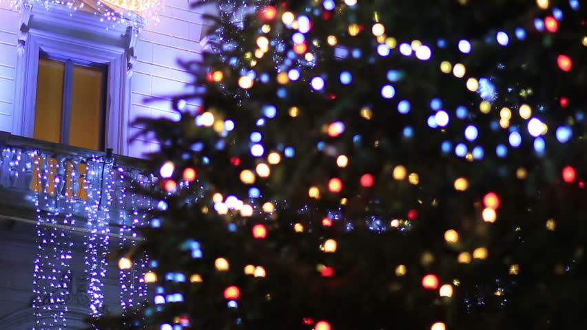 Christmas in Rome - Christmas tree - HD stock footage clip - Christmas Tree  With Colorful. Christmas Lights Video Download ... - Christmas Lights Video Download DailyFoo