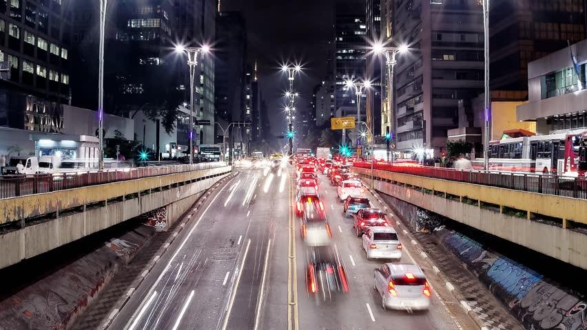 People hurry back home during rush hour on Avenida Paulista. Sao Paulo, Brazil, low view | Shutterstock HD Video #20827381
