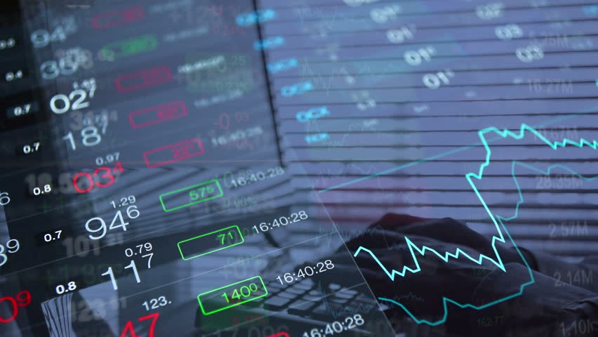 Financial background, online trading concept: stock market trading board, abstract tickers, stock quotes, chart. Trader working on computer, typing on keyboard. Full HD video background 1080p. | Shutterstock HD Video #20843011