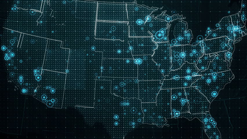 Decreases Diagram on the Map of USA. The video of animated diagram on the USA map background. There are also animated glowing round connections in different cities on the USA map. | Shutterstock HD Video #20854132