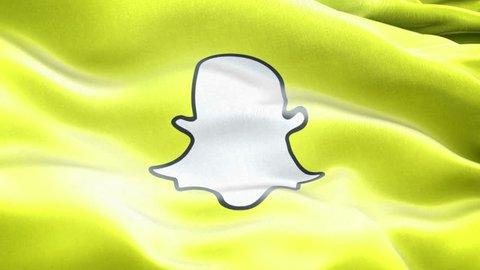 New York, USA - 1 November 2016 - Animated logos of Snapchat. Flag of Snapchat..