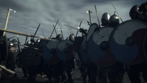 Battle Between Medieval Viking Warriors. Medieval Reenactment. Shot on RED Cinema Camera in 4K (UHD).
