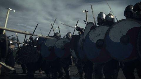 Battle Between Medieval Viking Warriors. Medieval Reenactment. Shot on RED Cinema Camera in 4K (UHD).
