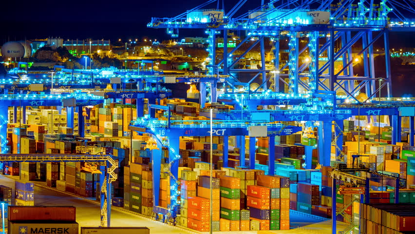 Editorial:October 18 2016,Perama, Athens Greece.4K trading port night timelapse,industrial activity,logistics.Timelapse sequence of machinery handling cargo containers at the now Chinese-owned port. | Shutterstock HD Video #20963791