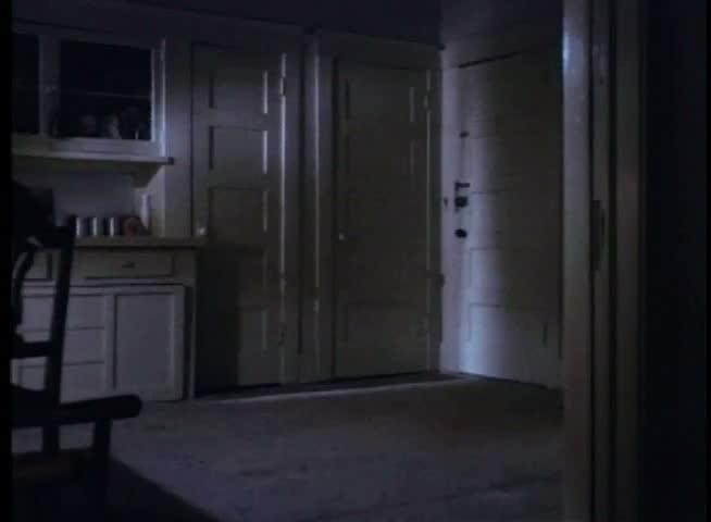 Dark Kitchen At Night wide shot of kitchen door flying open stock footage video 2097221