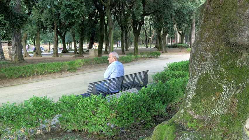 Good Video Bench Part - 10: Old Man Alone On A Bench In A Park - 4K Stock Video Clip