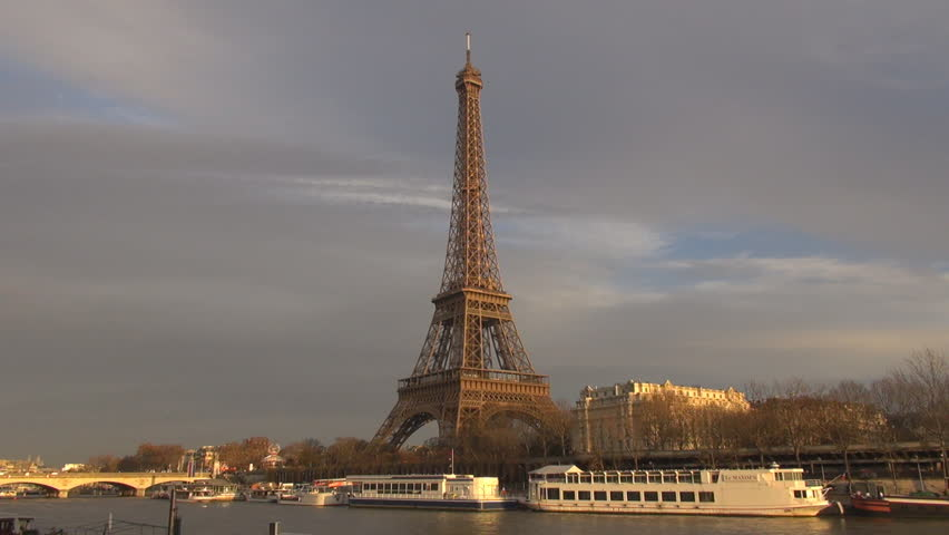 PARIS, FRANCE - DECEMBER 25, 2011: Timelapse of Eiffel Tower and Siene river | Shutterstock HD Video #2101061