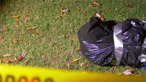 Crime scene with a dead body