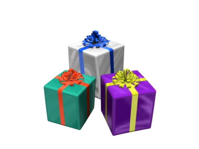 Presentation of gift boxes white background 2 in 1 stock footage three gifts bounce animationree animated gifts fall and bounce until rest includes alpha negle Images