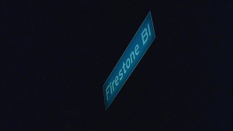 night Shot Firestone Bl street sign South Central, LA