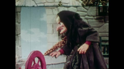 ANIMATED 1950s: Witch takes Rapunzel from her tower. Witch puts Rapunzel in a wooden shack.